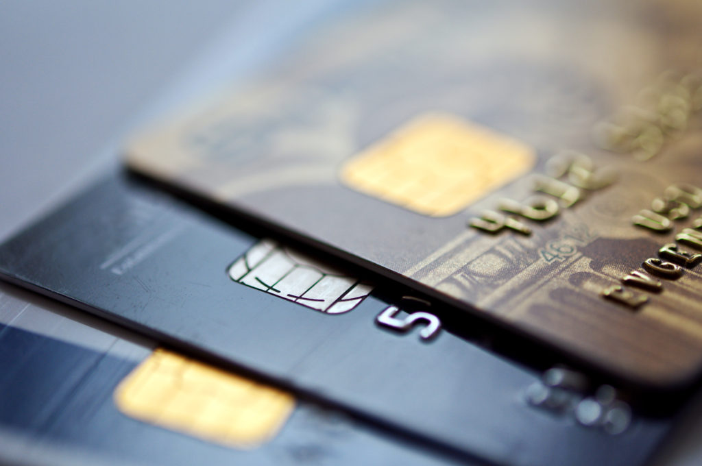 credit cards on a blue background