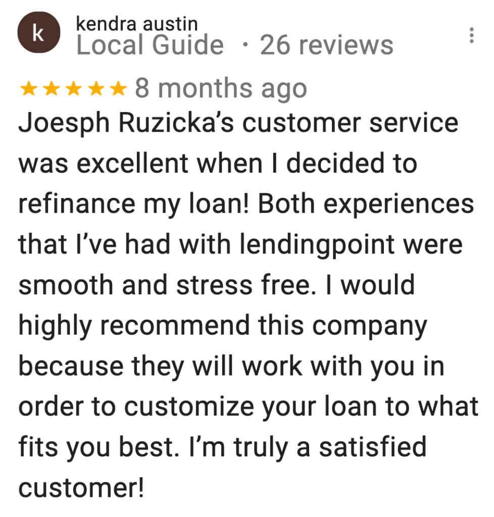 Google review LendingPoint
